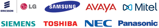 Ericsson, LG, Samsung, Siemane, Toshiba, NEC logos